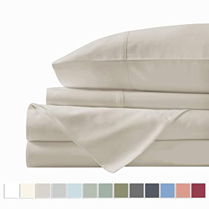 Amazon.com: Pizuna 400 Thread Count Beige Twin XL Cotton Sheets