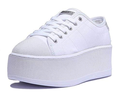 82fbb30622 Modello Con Tessuto Guess Donna Zeppa Bianco Media Sneaker In Colore ...