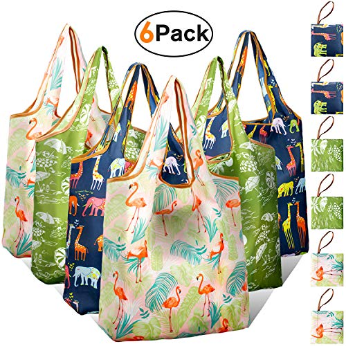 Shopping Bags Reusable Foldable Grocery Bags with Attached Pouch Bulk Cloth Gift Bags Mathine Washable Lightweight]()