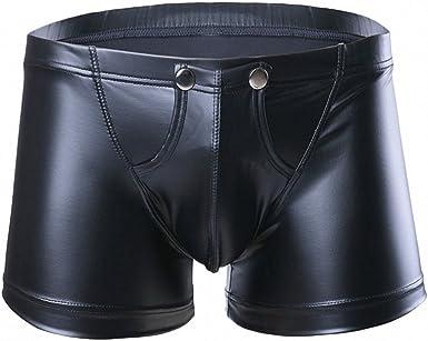Men/'s Patent Leather Pouch Panty Shorts Underwear Boxer Briefs Wetlook Trunks