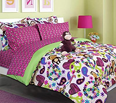 Teen Tween Girls Kids Bedding - FABIAN MONKEY Bed In A Bag. Twin and Full Size Comforter set -Plush Toy Included - Peace, Hearts - Hot Pink, Turquoise Blue, Purple, Green, Black and White