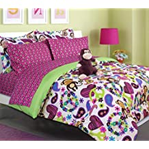 Teen Tween Girls Kids Bedding - FABIAN MONKEY Bed In A Bag. (Double) FULL SIZE Comforter set -Plush Toy Included - Peace, Hearts - Hot Pink, Turquoise Blue, Purple, Green, Black and White