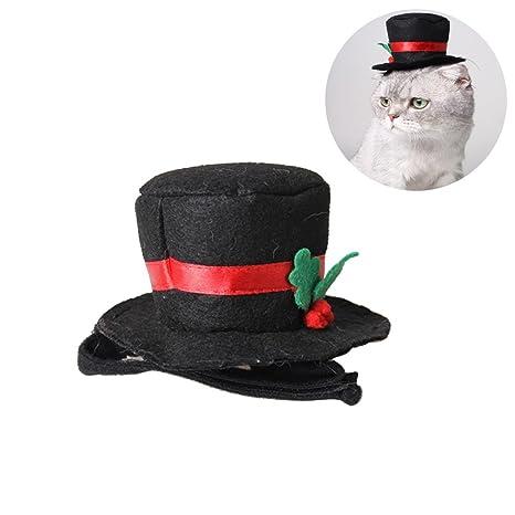 UEETEK Sombrero de copa para gato de perro mascota, Sombrero de copa negro de Cosplay