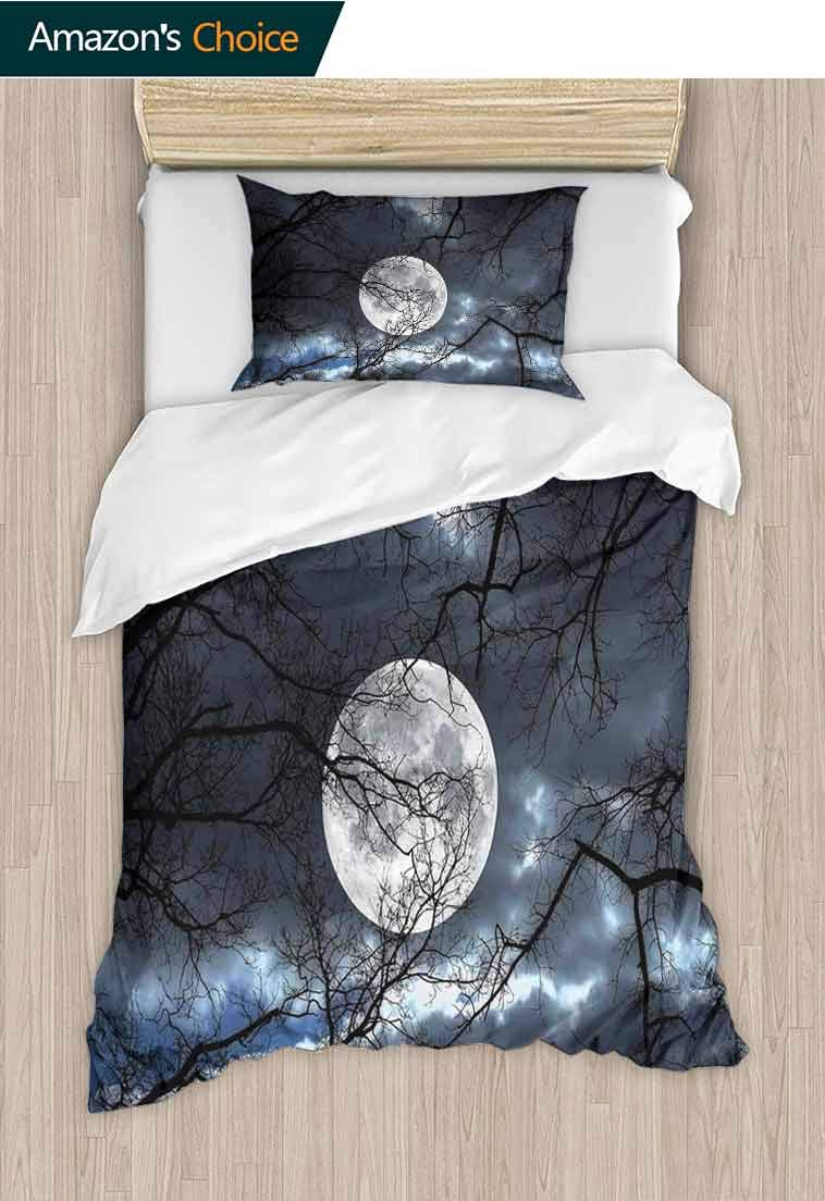 Farm House Decor DIY Quilt Cover and Pillowcase Set, Full Moon at Night in The Forest Winter Time Mystical Dramatic Days Luna Photo, Reversible Coverlet, Bedspread, Gifts for Girls Women