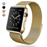 For Apple Watch Band 42mm&38mm Strong Magnetic Milanese Loop with Closure Clasp Smooth Stainless Steel Replacement Iwatch Strap for Apple Watch Series 3 2 1 Sport and Edition (Gold, 42mm)