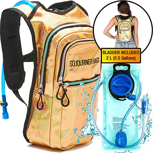 a502d88eae Sojourner Rave Hydration Pack Backpack - 2L Water Bladder Included for  Festivals, Raves, Hiking, Biking, Climbing, Running and More (Multiple  Styles) ...