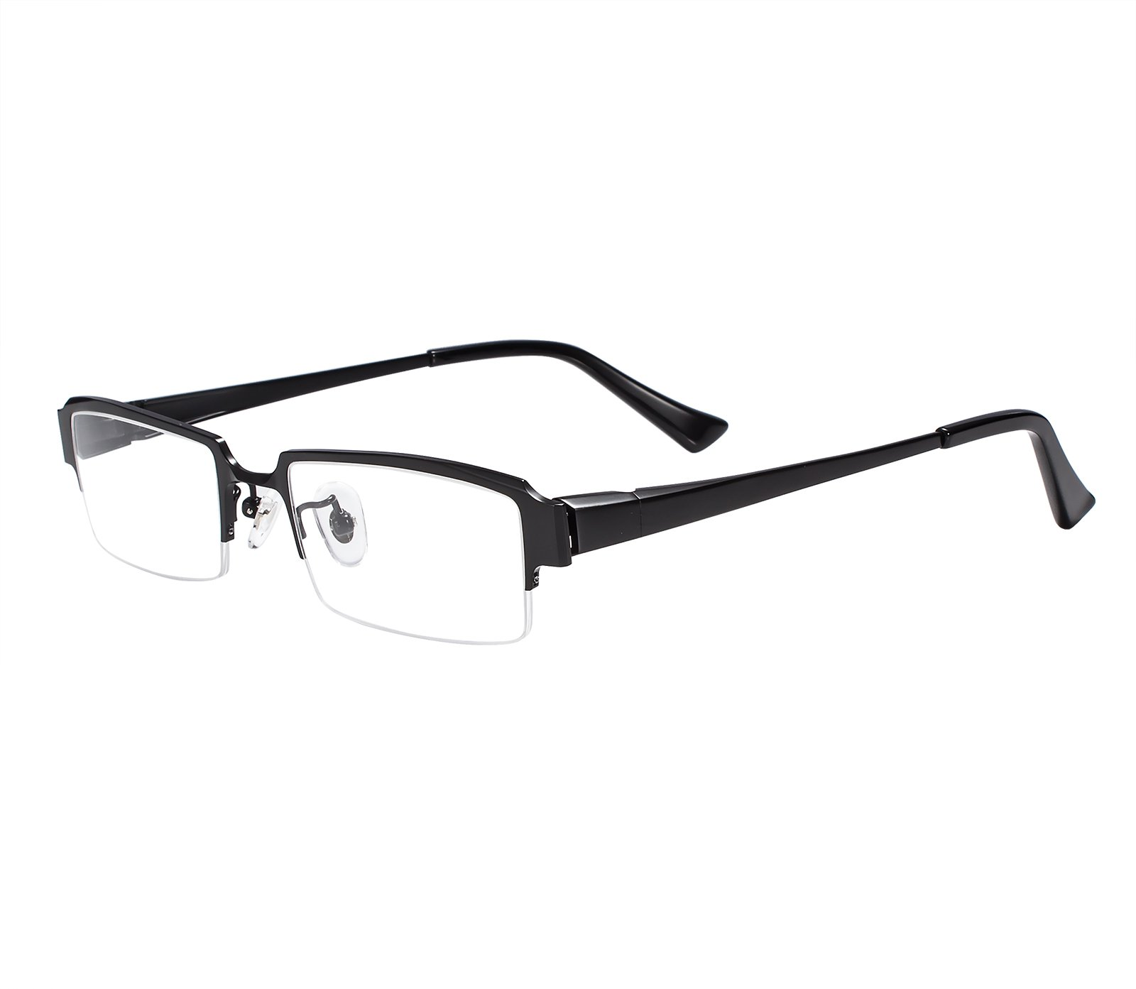 Agstum Pure Titanium Half Rim Optical Business Glasses Frame Clear Lens Rx (Black, 52)
