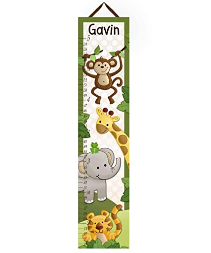 Amazon Toad And Lily Canvas Growth Chart Jungle Safari Animals