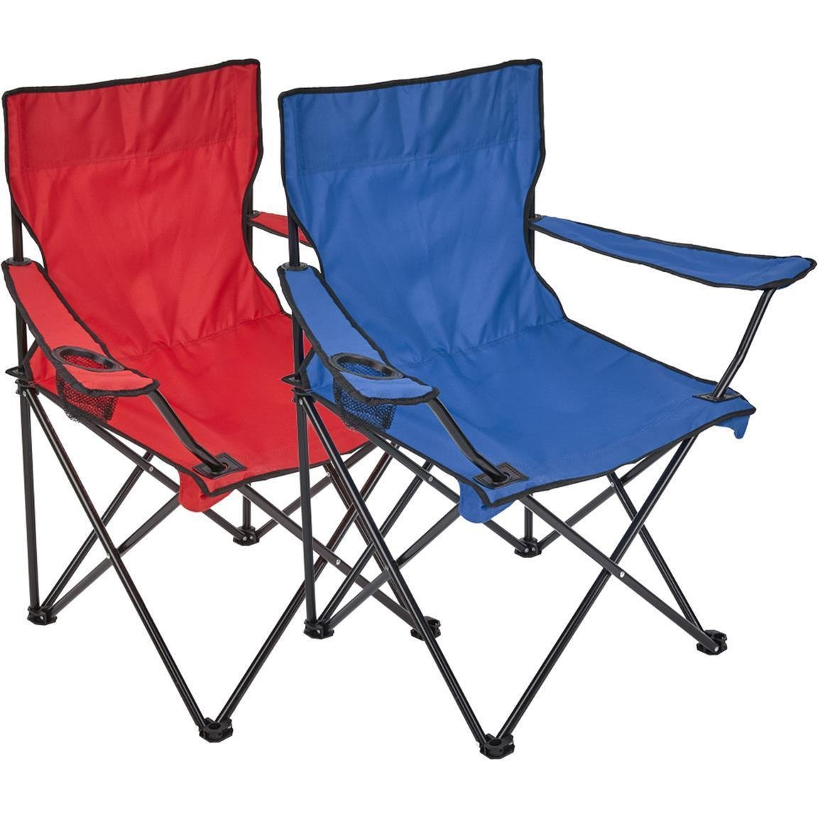 Silla plegable, 2 unidades, silla de camping con soporte para bebidas en reposabrazos, azul / rojo