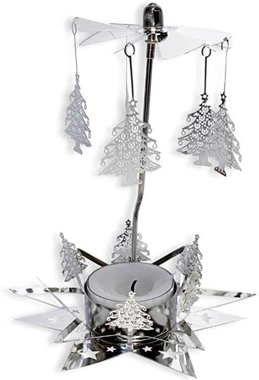 Amazon Com Banberry Designs Christmas Candle Candle Spinner With Laser Cut Xmas Tree Charms 1 Smokeless Tealight Candle Included Rotating Candle Spinners Home Kitchen