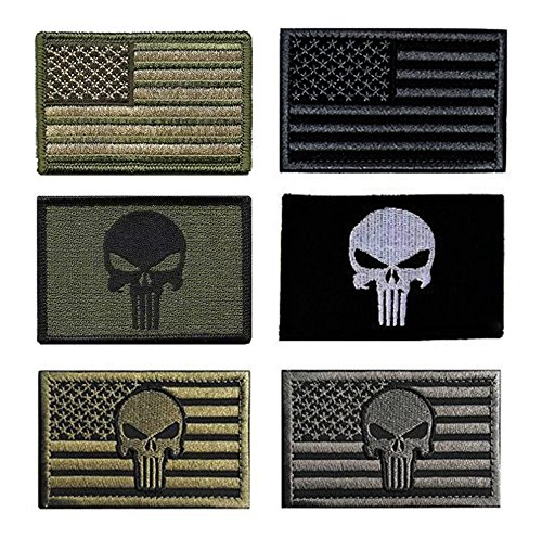 Antrix Tactical Punisher Morale Patches, 6 Pack US American