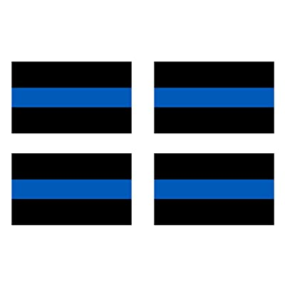 """4 Pack Thin Blue Line - Blue Lives Matter Flag Sticker 5x3"""" Support Local Law Enforcement Police Officers: Automotive"""