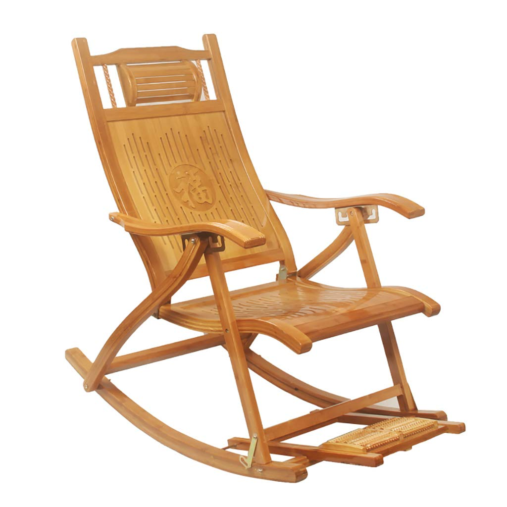 Folding Bamboo Rocking Chair Relaxing Lounge Chair with Backrest and Armrest,5 Gear Height Adjustable Backrest,Foot Message by WY rocking chair