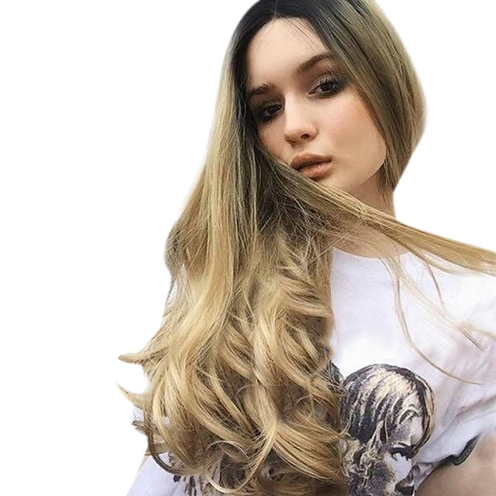 Dastrues 70 cm Frauen Lange Lockige Wellenförmige Perücke Synthetische Haar Ombre Farbe Mädchen Cosplay Volle Perücken Geschenk