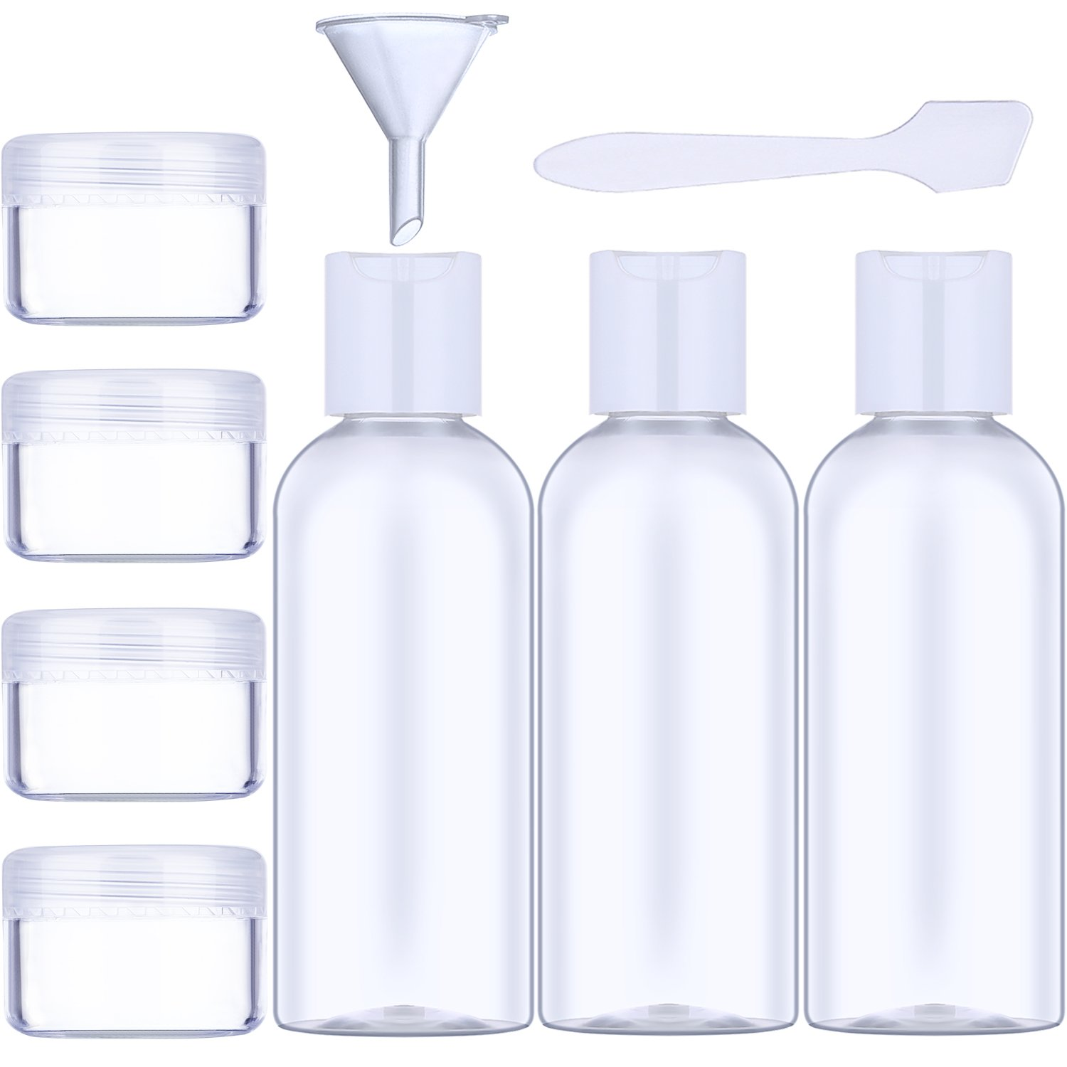 Clear Travel Bottle Set and Toiletries Liquid Containers, 9 Pieces in Total (50 ML)