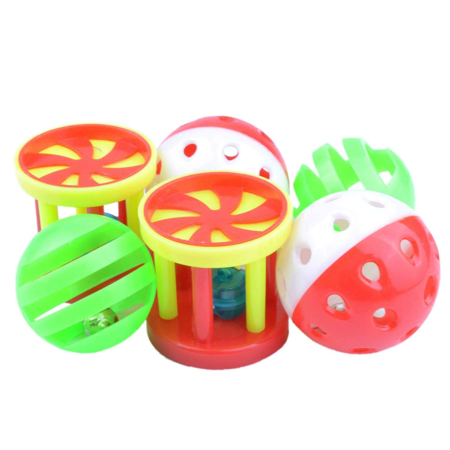 6 Pack Parrot Food Toys Chewing Playing Training Bell Ball Bird Cage Treat Toy for Cockatiel Parakeet Cat Conure