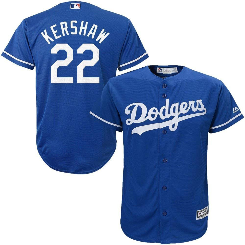 1bb87e4d9 Amazon.com  Majestic Clayton Kershaw Los Angeles Dodgers MLB Kids Blue  Alternate Cool Base Replica Jersey  Clothing