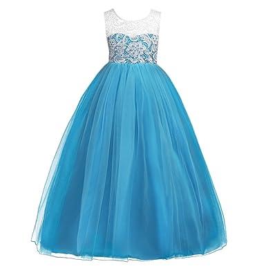 788767d506286 Abito Bambina Principessa Vestito da Cerimonia per la Damigella Floreale  Matrimonio Carnevale Tutu Compleanno Bambina Festa Sera Ragazza Elegante  Fiore ...