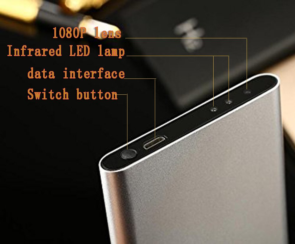 A0CHAN Portable Hidden Spy HD 1080P Spy Camera Large Capacity 5000mah Ultra Thin Mobile Power Bank Night Vision Memory card record Video Camera Camcorder DV(Gold color)