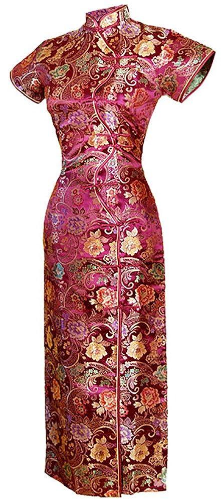 baf4667cf Amazon.com: 7Fairy Women's VTG Burgundy Ten Buttons Long Chinese Dress  Cheongsam: Clothing