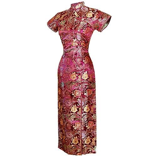 7Fairy Womens Vtg Burgundy Ten Buttons Long Chinese Dress Cheongsam