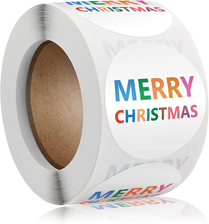 1roll Merry Christmas Stickers Round Sticker Label Envelope Greeting Card Decoration Stickers Candy Gift Seal Lapel for Xmas