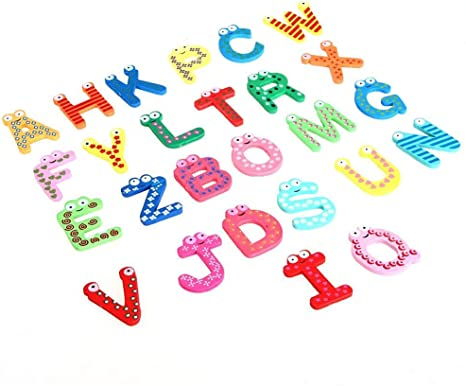 Funky Colourful Wooden Fridge Magnet Educational Toys Numbers Alphabet Letters