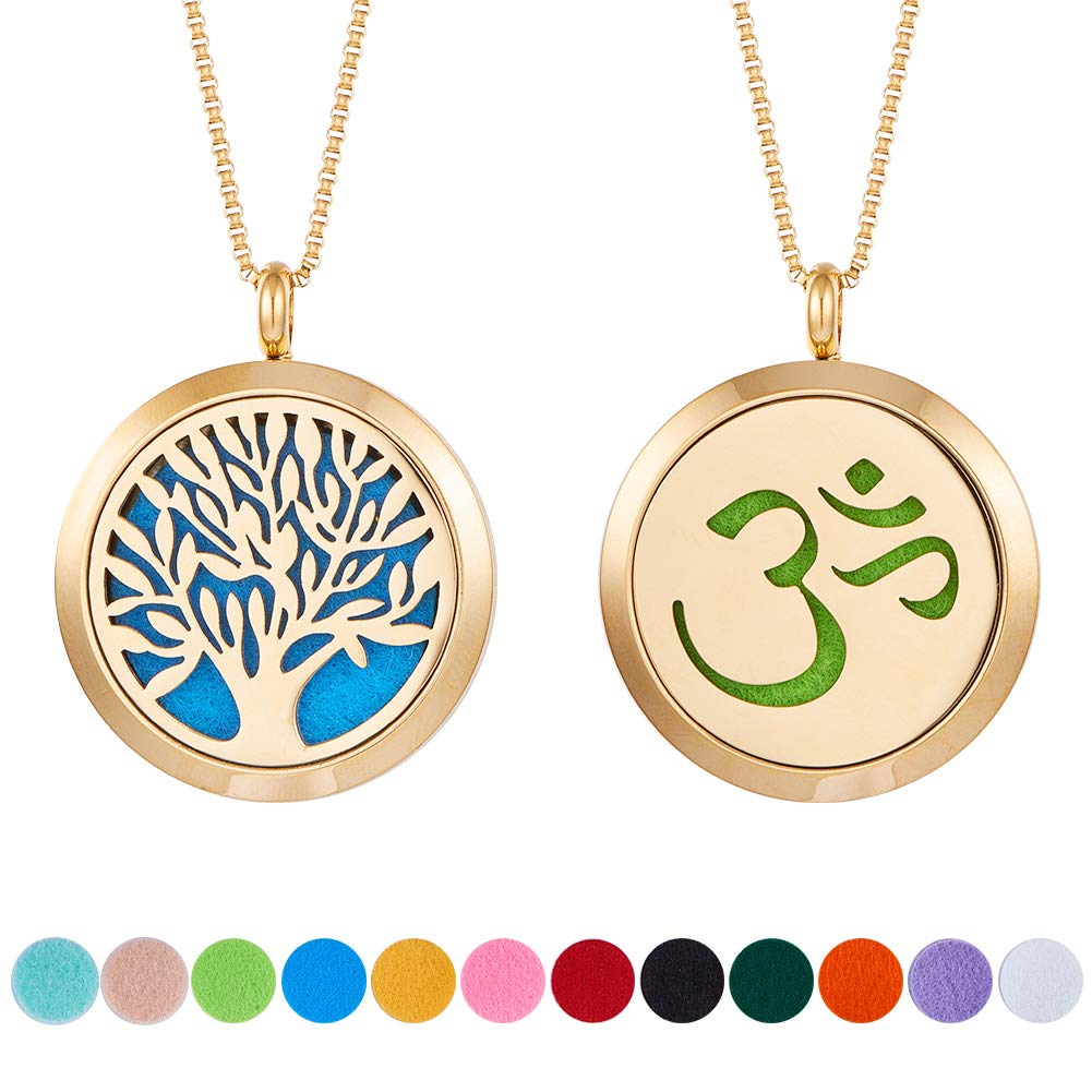 BENECREAT 2PCS Aromatherapy Essential Oil Diffuser Necklace Stainless Steel Locket Pendant with 2 Strand 24 Chain & 24 PCS Perfume Refill Pads Golden NJEW-SC0001-02G