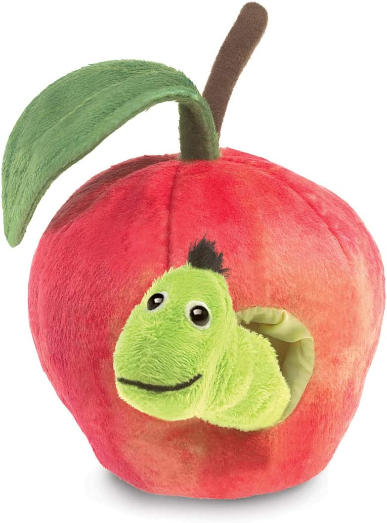 """Folkmanis Worm in Apple Finger Puppet, Red, Green, 8"""""""
