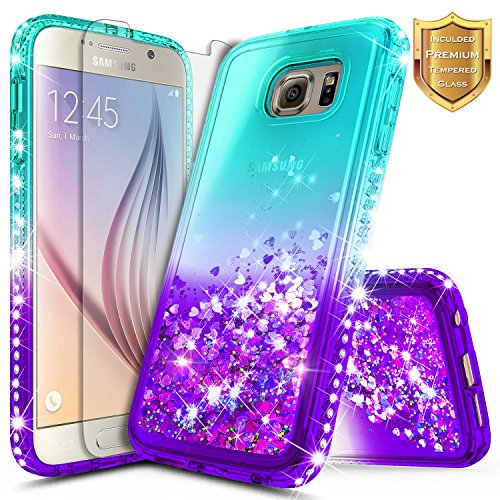 Galaxy S7 Case with [Tempered Glass Screen Protector] for Girls Women, NageBee Glitter Liquid Waterfall Flowing Sparkle Bling Diamond Shockproof Durable Cute Case for Samsung Galaxy S7 -Aqua/Purple