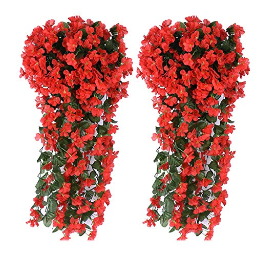 (Evoio Artificial Violet Ivy Flowers, 2PCS DIY Hanging Basket Garland Wedding Wall Ratta Silk String Floral Decoration (Red))