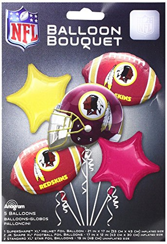 Anagram 31404 Washington Redskins Balloon Bouquet, Multicolored -