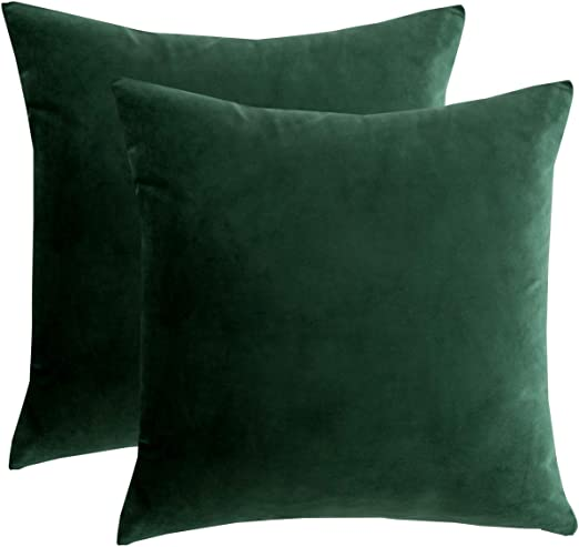 RainRoad Velvet Decorative Throw Pillow Covers Cushion Cover Pillow Case  for Sofa Couch Bed Chair,Soft Square Dark Green Throw Pillows 8x8  Inch,Set