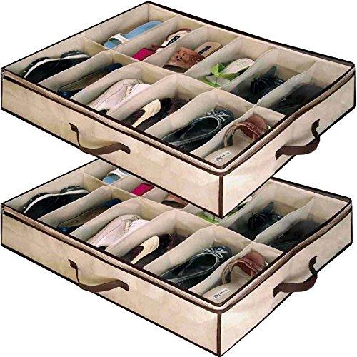 ... glisser sous le lit durable service. Babz Lot de 2 x Organiseur pour 12  Paires de chaussures boîte de rangement d  62ce2f6842b7