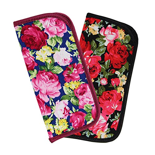 - 2 Pack Soft Slip In Eyeglass Case for Women Glasses, Reading Glasses, or Sunglasses - Fabric Floral Case