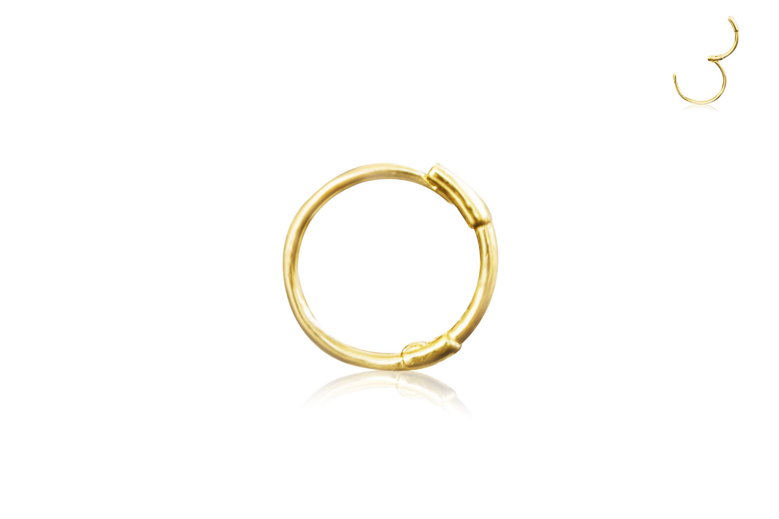 14K Solid Gold Jewelry 4mm Open Round Circle Tragus Cartilage Snug Inner Outer Conch Daith Helix Ear Segment Clicker Huggie Hoop Ring Piercing Earring For Women by ONDAISY