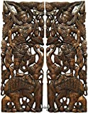 "Sawaddee Thai Traditional Figure with Elephant Carved Wood Wall Decor Panel in Dark Brown Finish 35.5""x13.5""x1'' Each, Set of 2 Pcs"