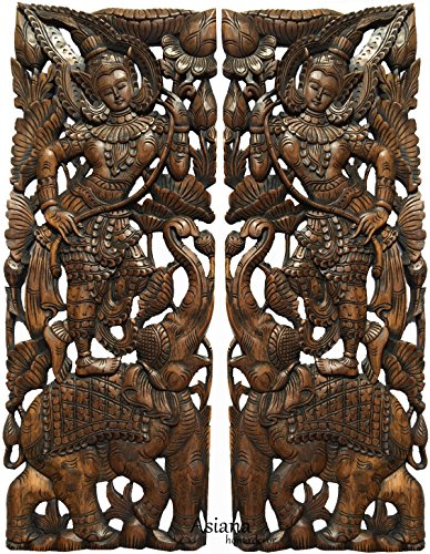 "Sawaddee Thai Traditional Figure with Elephant Carved Wood Wall Decor Panel in Dark Brown Finish 35.5""x13.5""x1'' Each, Set of 2 Pcs by Asiana Home Decor"