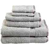Superior 100% Long Staple Combed Cotton Towel Set, 6 Piece, Silver