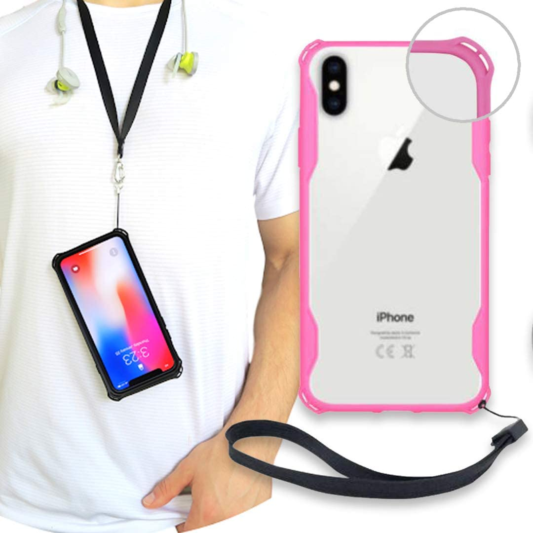 New iPhone X/XS Clear Slim Case with Wrist Strap & Lanyard   Best Rugged TPU Bumper Case   Strong Loop Hole Attachments for Leash, Tether Holder etc (Pink, iPhone X/Xs)