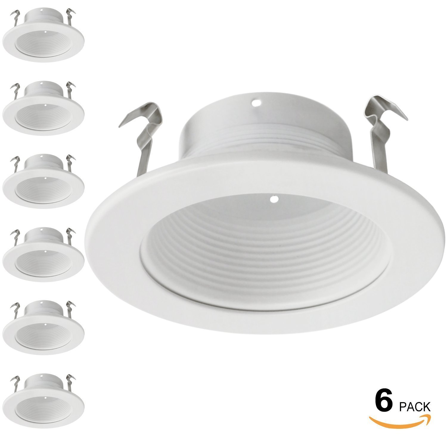 6 Pack 4 Inch Recessed Can Light Trim with White Metal Step Baffle, for 4 Inch Recessed Can, Fit Halo/Juno Remodel Recessed Housing, Line Voltage Available by TORCHSTAR (Image #2)
