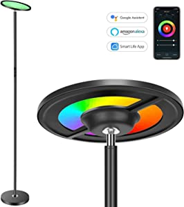 Torkase 66 in. Smart Sky LED Torchiere Floor Lamp Works with Alexa Google Home, Dimmable Color Changing, 2000LM Super Bright, App & Touch Control for Living Room Bedroom Office Reading & Decor-Black
