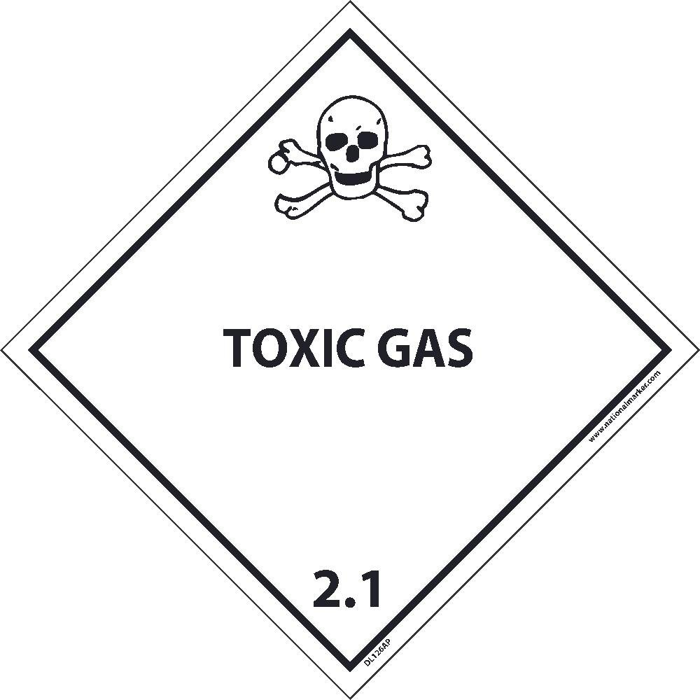 DL126ALV National Marker Dot Shipping Label, Toxic Gas 2.1, 4 Inches x 4 Inches, Ps Vinyl, 500/Roll