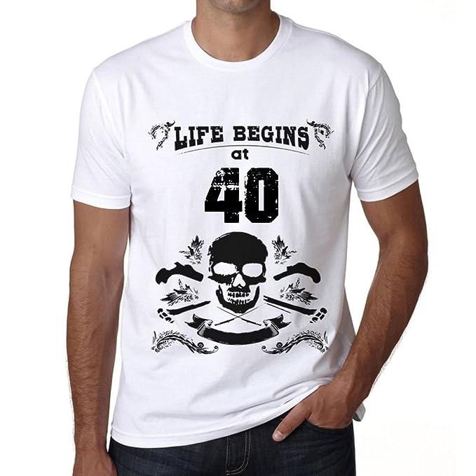 Life Begins at 40 Hombre Camiseta Blanco Regalo De ...