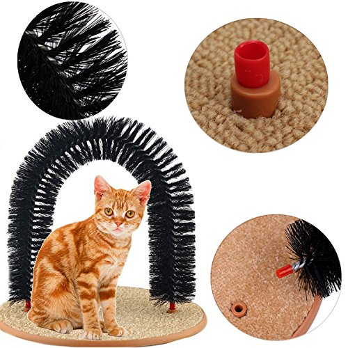 New Arrival Arch Pet Cat Self Groomer With Round Fleece Base Cat Toy Brush Toys For Pets Scratching Devices (freesize)
