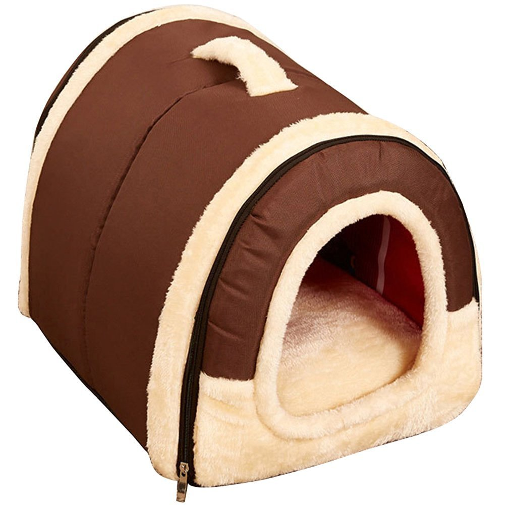 Brown L Brown L Multifuctional Warm Fleece Soft Removable Dog House Nest with Mat Foldable Pet Dog Cat Bed House for Small Medium and Large Dogs (L, Brown)