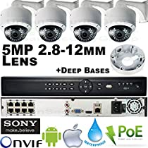 USG Business Grade PREMIUM Sony IMX178 Chipset : 5MP 2592x1944 @ 30FPS : 4 Camera HD Security System : 16 Channel Security NVR with 8x PoE Ports + 4x 5MP 2.8-12mm Lens Dome Cameras : Free Phone App