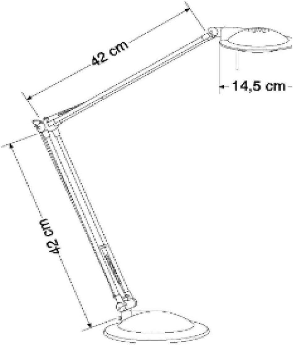 Lampada alogena da scrivania regolabile Arizona argento e antracite 50 W Bracci 42// U902600 Alco
