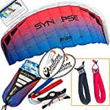 Prism Synapse 200 Coho Kite Blue Red Bundle (3 Items) Dual Line Power Foil Parafoil + Peter Lynn Heavy Duty Padded Kite Control Strap Handles Pair + WindBone Kiteboarding Lifestyle Stickers