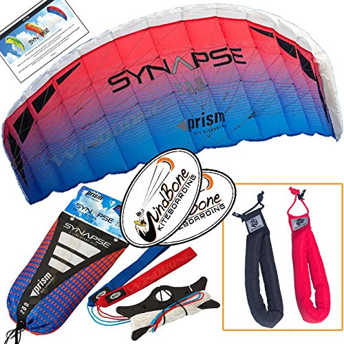 Prism Synapse 200 Coho Kite Blue Red Bundle (3 Items) Dual Line Power Foil Parafoil + Peter Lynn Heavy Duty Padded Kite Control Strap Handles Pair + WindBone Kiteboarding Lifestyle Stickers by Prism Power Kites, Peter Lynn, WindBone